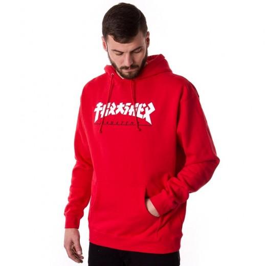 Bluza męska z kapturem Thrasher Hoody Godzilla red