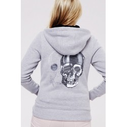 Grey Skull Zipper Hoodie