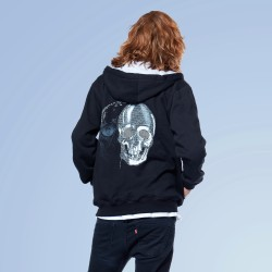 Black Skull Zipper Hoodie